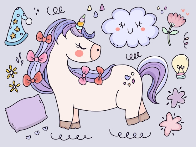 Unicorn and funny elements illustration