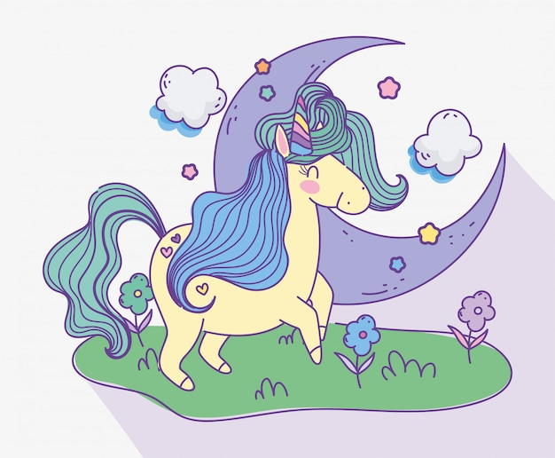 Unicorn half moon clouds meadow flowers fantasy magic cartoon vector illustration
