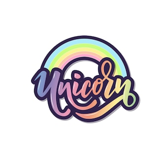 Unicorn hand lettering word with rainbow for clothes.