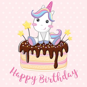 Unicorn happy birthday background