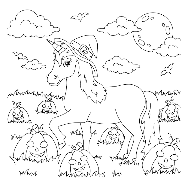 A unicorn in a hat walks across the pumpkin field halloween theme coloring book page for kids