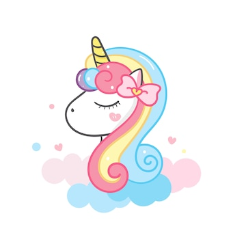 Unicorn head cute cartoon illustration