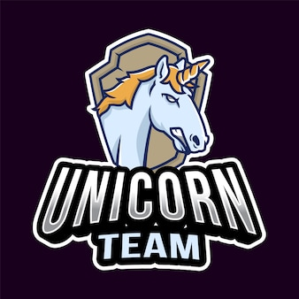 Unicorn head esport logo