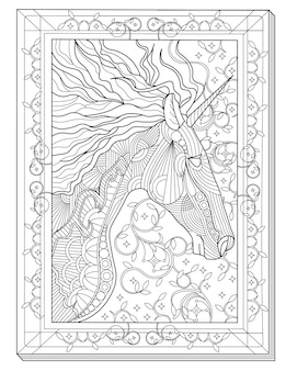 Unicorn head facing sideward inside a rectangular frame colorless line drawing mythical horned