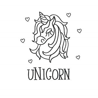 Unicorn head and hearts sketch icon