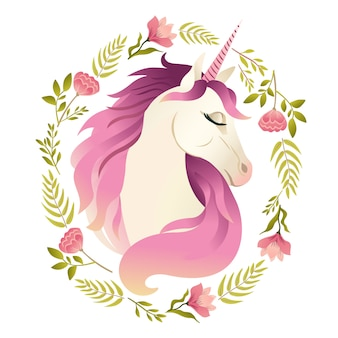 花の花輪のユニコーンヘッド