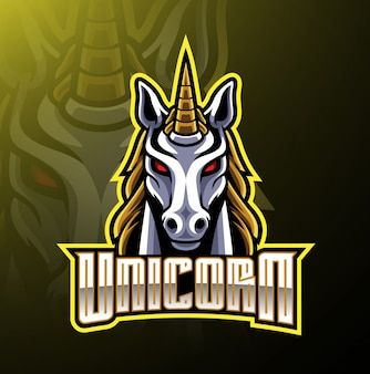 Unicorn head mascot logo design