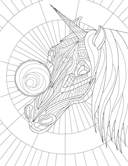 Unicorn head with beautiful mane round object on face colorless line drawing mythical horned