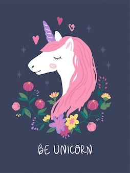 Голова единорога с розовыми волосами и цветами. симпатичные иллюстрации для детей.