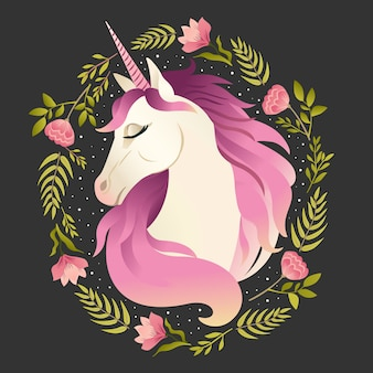 Unicorn head in wreath of flowers