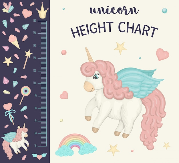 Unicorn height chart. picture with pink girlish elements for children. measurement scale with rainbow, stars, cloud, magic wand, crown, crystals.