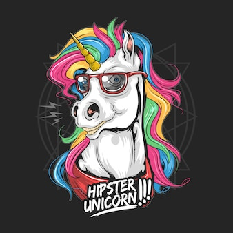 Unicorn hipster use glasses rainbow hair full colour very cute face