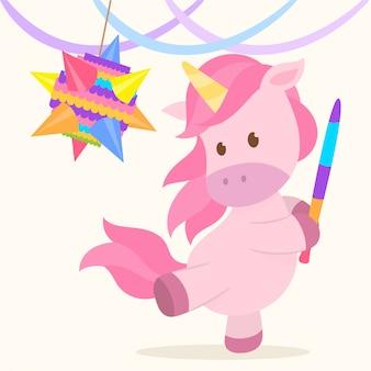 An unicorn hitting a pinata
