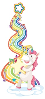 Unicorn holding star with rainbow on white background