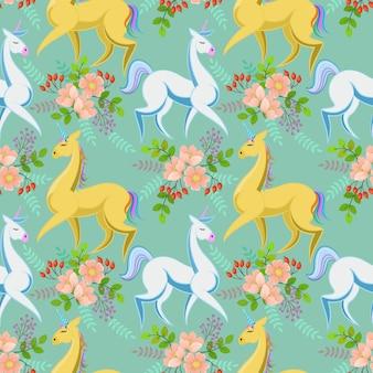 Unicorn horse and flowers seamless pattern.