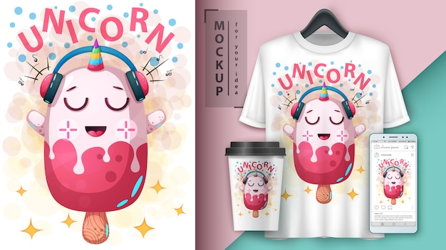 Unicorn ice cream poster and merchandising