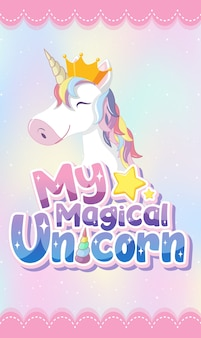 Unicorn icon on magic  pastel background