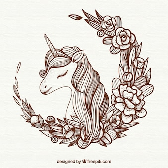 Unicorn illustration background and floral wreath
