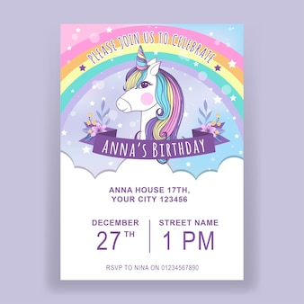 Unicorn illustration birthday invitation template