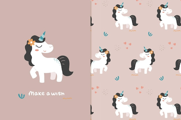 Unicorn illustration and pattern