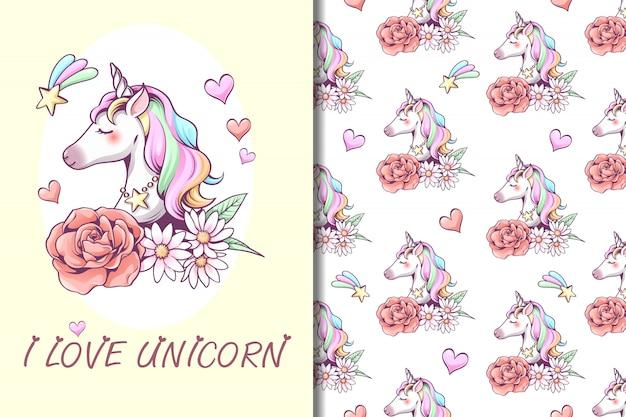 Unicorn illustration and seamless pattern
