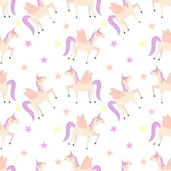 Unicorn illustration seamless pattern
