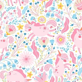 花の妖精の森のシームレスなパターンのユニコーン