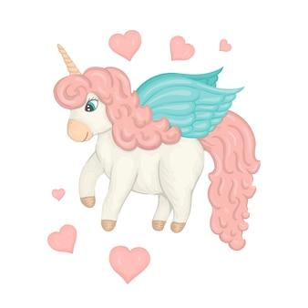 ハートとパステルカラーのユニコーン。子供のための水彩風のかわいいキャラクター。おとぎ話の不思議な生き物のイラスト。