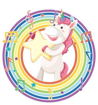 Единорог в круглой рамке радуги с символом мелодии