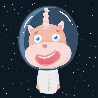 Единорог в космосе портрет милого животного мультипликационного персонажа