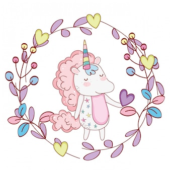 Unicorn inside wreath cute cartoons