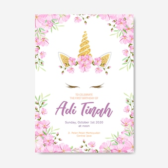 Unicorn invitation card with floral wreath and gold glitter