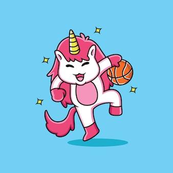 Unicorn is playing basketball