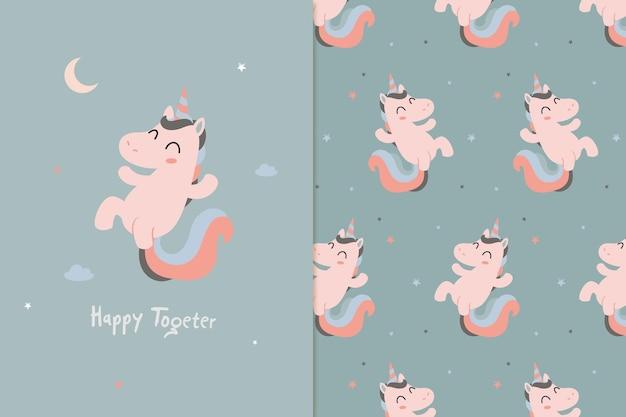 Unicorn jump illustration and pattern