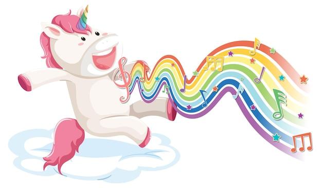 Unicorno che salta sulla nuvola con simboli di melodia sull'onda arcobaleno