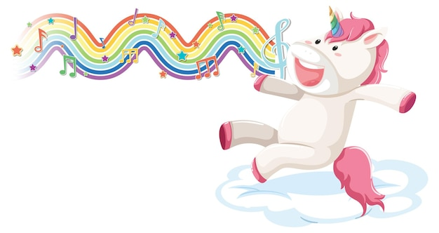 Unicorn jumping on the cloud with melody symbols on rainbow wave
