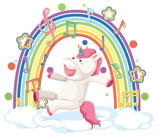 虹とメロディーのシンボルで雲にジャンプするユニコーン