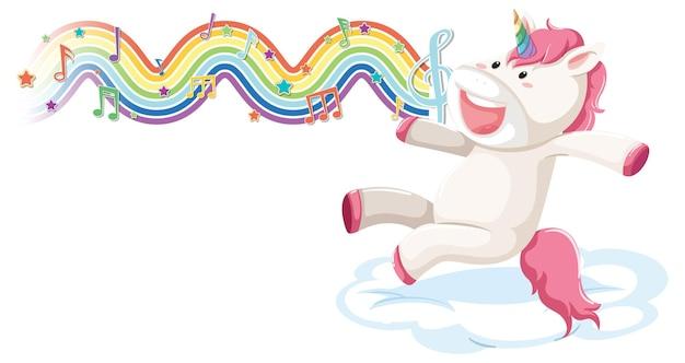 虹の波のメロディーシンボルと雲の上をジャンプするユニコーン