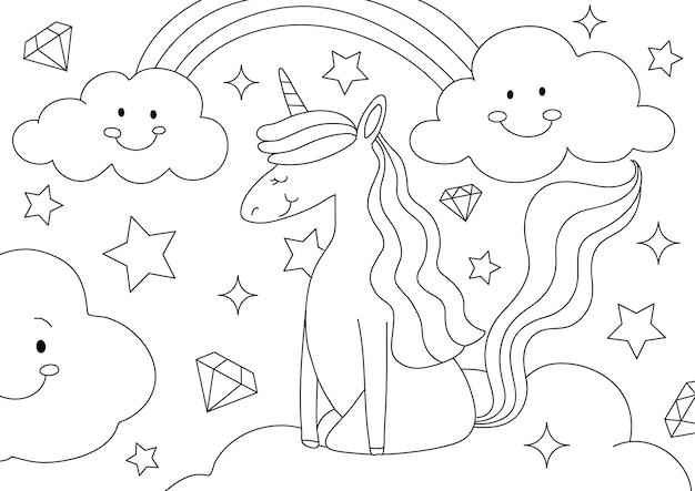 ユニコーンキッズぬりえページベクトル、子供が記入するための空白の印刷可能なデザイン