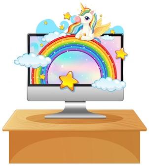 Unicorn on laptop desktop background