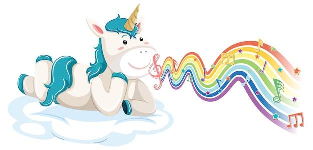 Unicorno sdraiato sulla nuvola con simboli di melodia sull'onda arcobaleno