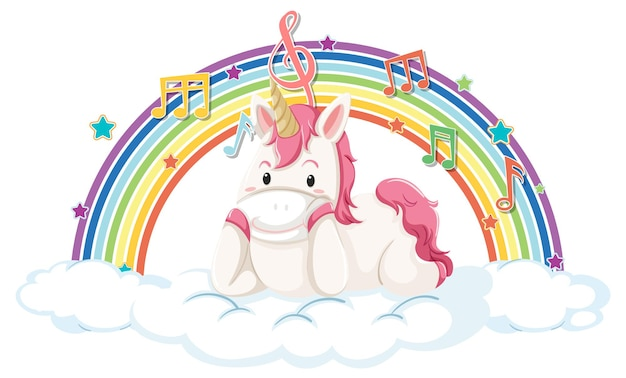 Unicorn laying on cloud with rainbow and melody symbol