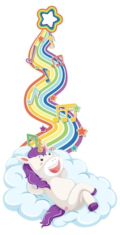 Unicorn laying on the cloud with rainbow on white background