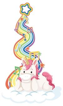 Единорог, лежащий на облаке с радугой на белом фоне