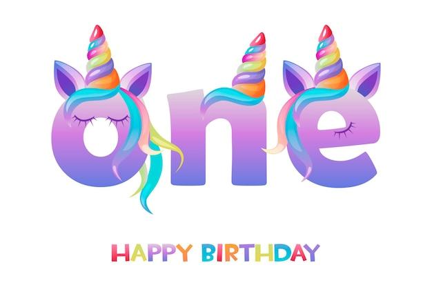 Единорог с надписью один, поздравительная открытка с днем рождения для пользовательского интерфейса игры.