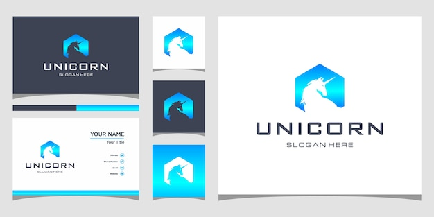 名刺プレミアム付きのユニコーンのロゴデザイン