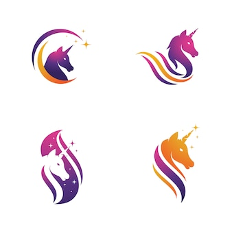 Unicorn logo icon vector illustration design template
