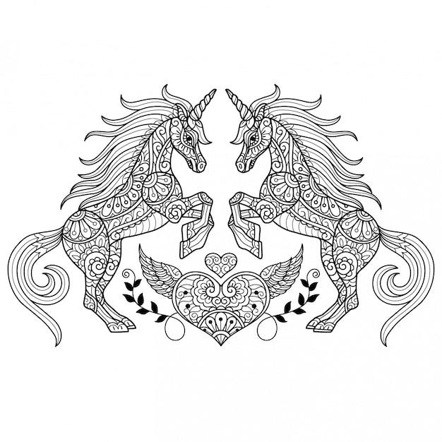 Единорог любви. нарисованная рукой иллюстрация эскиза для взрослой книжка-раскраски.