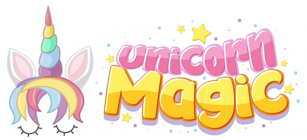 Unicorn magic logo in pastel color with cute unicorn and star confetti
