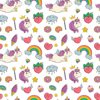 Unicorn and magic rainbow seamless pattern isolated on white background eps10